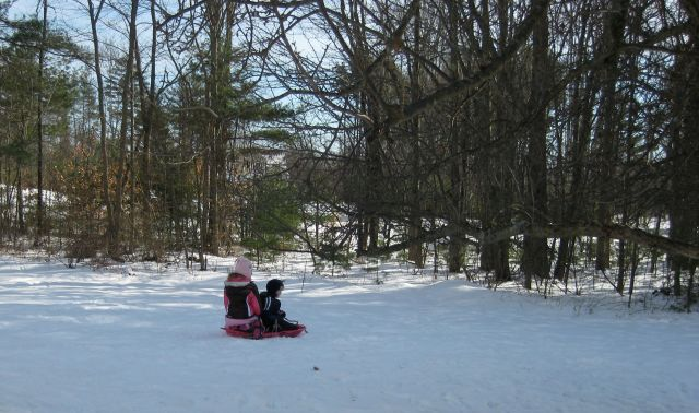 Grandkids enjoying the sledding