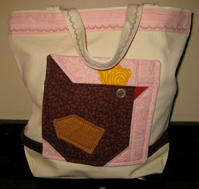 Chicken Tote with large pocket and trim.