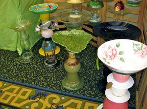 Bird baths with thrift store finds - vases