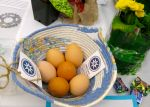 Egg basket with fresh eggs from 1840 Farm :)