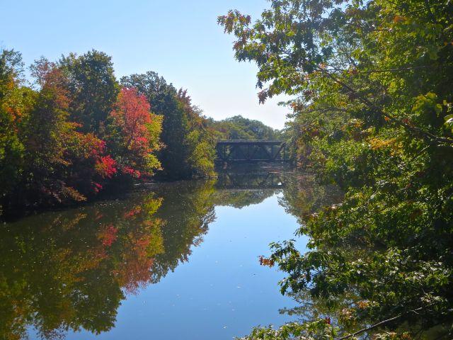 Railroad trestle over the Cocheco River, Dover, New Hampshire